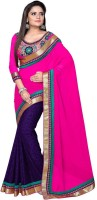 Nairiti Fashions Solid Bollywood Georgette, Jacquard Saree(Multicolor)