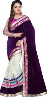 Nairiti Fashions Solid Bollywood Velvet, Net Saree(Purple)