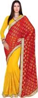 Khoobee Self Design, Embroidered, Embellished Fashion Chiffon Saree(Red, Yellow)