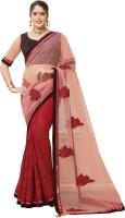 Saara Embroidered Fashion Net Saree(Red, Brown)