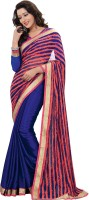 Khushali Self Design Fashion Chiffon Saree(Blue, Red)