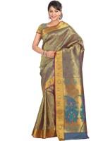 Varkala Silk Sarees Floral Print Kanjivaram Silk Saree(Gold, Purple)