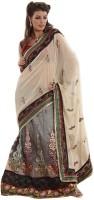 Bahubali Sarees Self Design Lehenga Saree Net Saree(Beige)