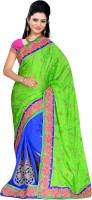 MGS Self Design Fashion Handloom Jacquard Saree(Green)