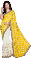 Khoobee Self Design, Embroidered, Embellished Fashion Cotton Blend, Poly Georgette Saree(White, Yellow)