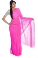 Aaradhya Fashion Striped Leheria Handloom Georgette Saree(Pink)