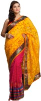 Kataan Bazaar Self Design Banarasi Net Saree(Yellow)
