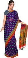 Jiya Self Design, Printed Daily Wear Poly Georgette Saree(Multicolor, Purple)