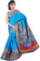 Khoobee Printed Bhagalpuri Cotton Blend Saree(Light Blue)