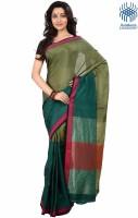 Tantuja Solid Tangail Handloom Cotton Saree(Green)