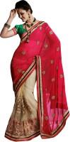We Desi Self Design Fashion Georgette Saree(Pink, Beige)