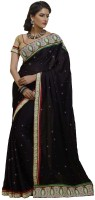 Bahubali Sarees Self Design Fashion Chiffon Saree(Black)