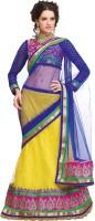Admyrin Self Design Lehenga Saree Net Saree(Yellow, Blue)