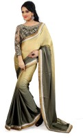 Florence Embroidered Fashion Satin Saree(Beige)