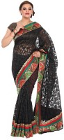 Kataan Bazaar Self Design Banarasi Net Saree(Black)