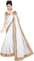 Patankar Fab Solid Daily Wear Cotton Saree(White)
