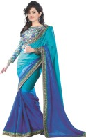 Aksh Fashion Embroidered Fashion Pure Chiffon Saree(Blue, Green)