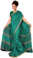 Jiya Printed Fashion Poly Silk Saree(Green)