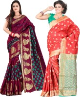 Indi Wardrobe Woven Banarasi Handloom Banarasi Silk Saree(Pack of 2, Maroon, Red)