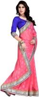 Jiya Self Design, Embroidered Fashion Cotton Blend Saree(Pink)