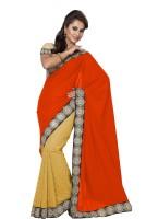 Ishin Embellished Fashion Modal Saree(Orange)