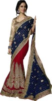 Khoobee Self Design, Embellished, Embroidered Fashion Net Saree(Blue, Red)