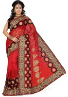 De Marca Solid Fashion Net Saree(Red)