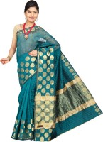 Pavechas Polka Print, Striped Banarasi Silk Cotton Blend Saree(Blue)