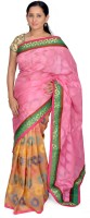 Jagadamba Self Design Bollywood Silk Saree(Multicolor)