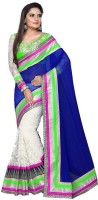 Nairiti Fashions Solid Bollywood Georgette, Net Saree(Blue, White)