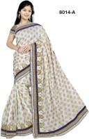 Welcome Fashion Geometric Print Fashion Jacquard Saree(White, Blue)