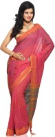 Devi Handlooms Woven Mangalagiri Handloom Cotton Blend Saree(Pink)