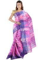 Hawai Embellished Tant Handloom Cotton Saree(Pink, Blue)