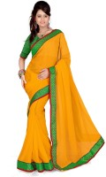 Cenizas Solid Fashion Georgette Saree(Yellow)
