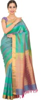 Thara Sarees Self Design Kanjivaram Pure Silk Saree(Green, Multicolor)