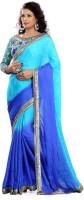 Florence Embroidered Fashion Satin Saree(Blue)