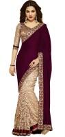 Shoppershopee Embroidered Fashion Velvet Saree(Magenta)