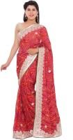 Shri Narayan Fashions Embellished Bandhani Handloom Synthetic Georgette Saree(Red)