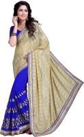 Khoobee Self Design, Embroidered Fashion Cotton Blend, Poly Georgette Saree(Blue, Beige)