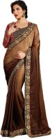 Shoppershopee Embroidered Fashion Satin Saree(Brown)