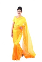 Fab Rajasthan Solid Kota Doria Handloom Silk Saree(Yellow)