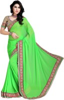 Khoobee Self Design, Embroidered Fashion Poly Georgette Saree(Light Green)