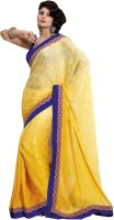 Admyrin Self Design Fashion Crepe, Jacquard Saree(Yellow)