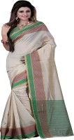 Ansu Fashion Printed Daily Wear Cotton Saree(White)