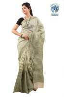 Tantuja Self Design Murshidabad Handloom Silk Saree(Green)
