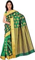 Varkala Silk Sarees Woven Kanjivaram Art Silk, Jacquard, Brocade Saree(Dark Green)