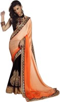 Jugniji Embroidered Fashion Satin, Velvet Saree(Black, Orange)