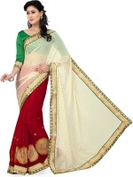 Saree Swarg Solid Bollywood Net, Chiffon Saree(Red, White)