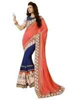 Kvsfab Embroidered Fashion Georgette Saree(Dark Blue, Orange)