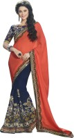 Jiya Self Design, Embroidered, Embellished Fashion Georgette Saree(Orange, Blue)
